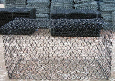 Cina 1m x 1m x 1m Hexagonal Galvanized Gabion Box Dengan PVC Coated For Flood Bank pemasok
